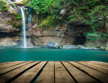 Haew Su Thad Waterfall With Tunnel At Khao Yai National Park, Th