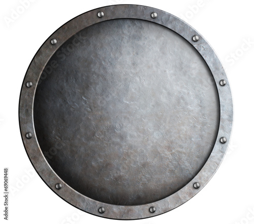 round metal medieval shield isolated Wallpaper Mural