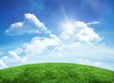 Zielone pola pod błękitnym niebem