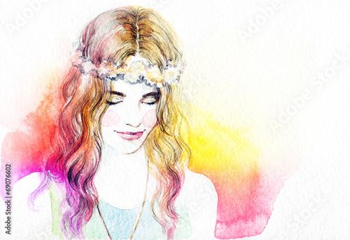 Papiers peints Portrait Aquarelle woman portrait .abstract watercolor .fashion background