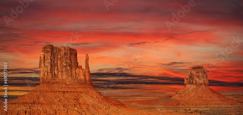 Poster Cuban Red Monument Valley at sunset, Utah, USA.