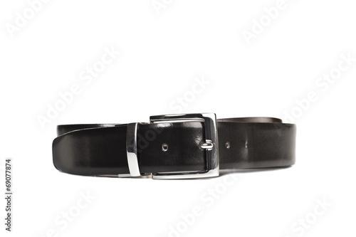 Valokuva  Cinturón negro sobre fondo blanco