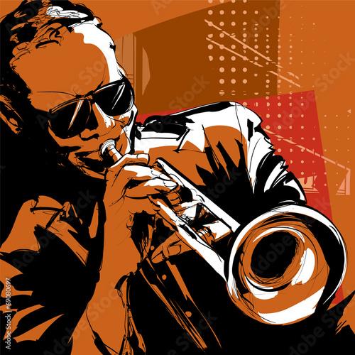 Obraz Jazz trumpet player - fototapety do salonu