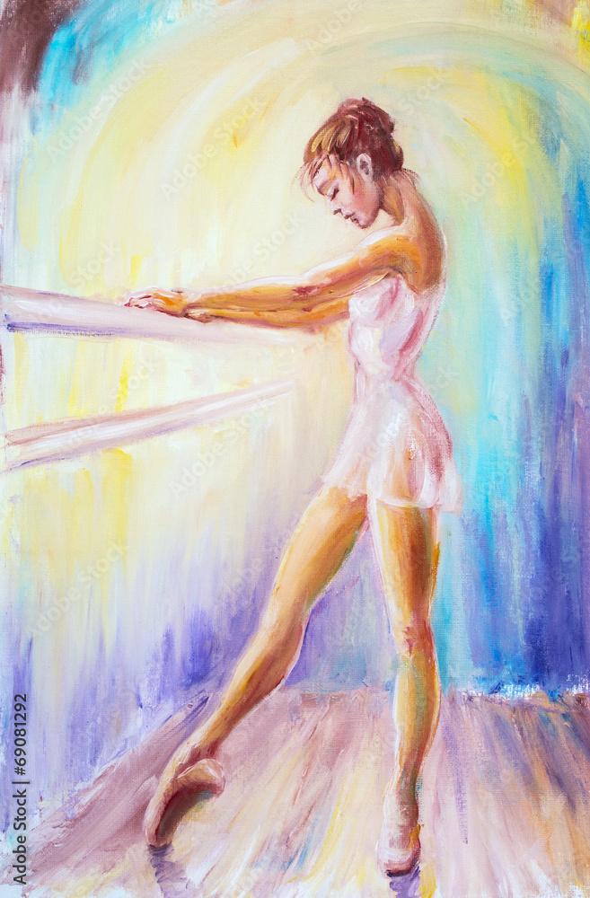Valokuva  Beautiful young ballerina. Oil painting.