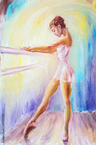 Beautiful young ballerina. Oil painting. Plakat