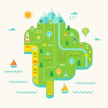 Resort Island Illustrated Map.