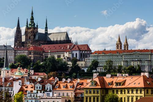 view on Prague castle from Charles Bridge Canvas Print