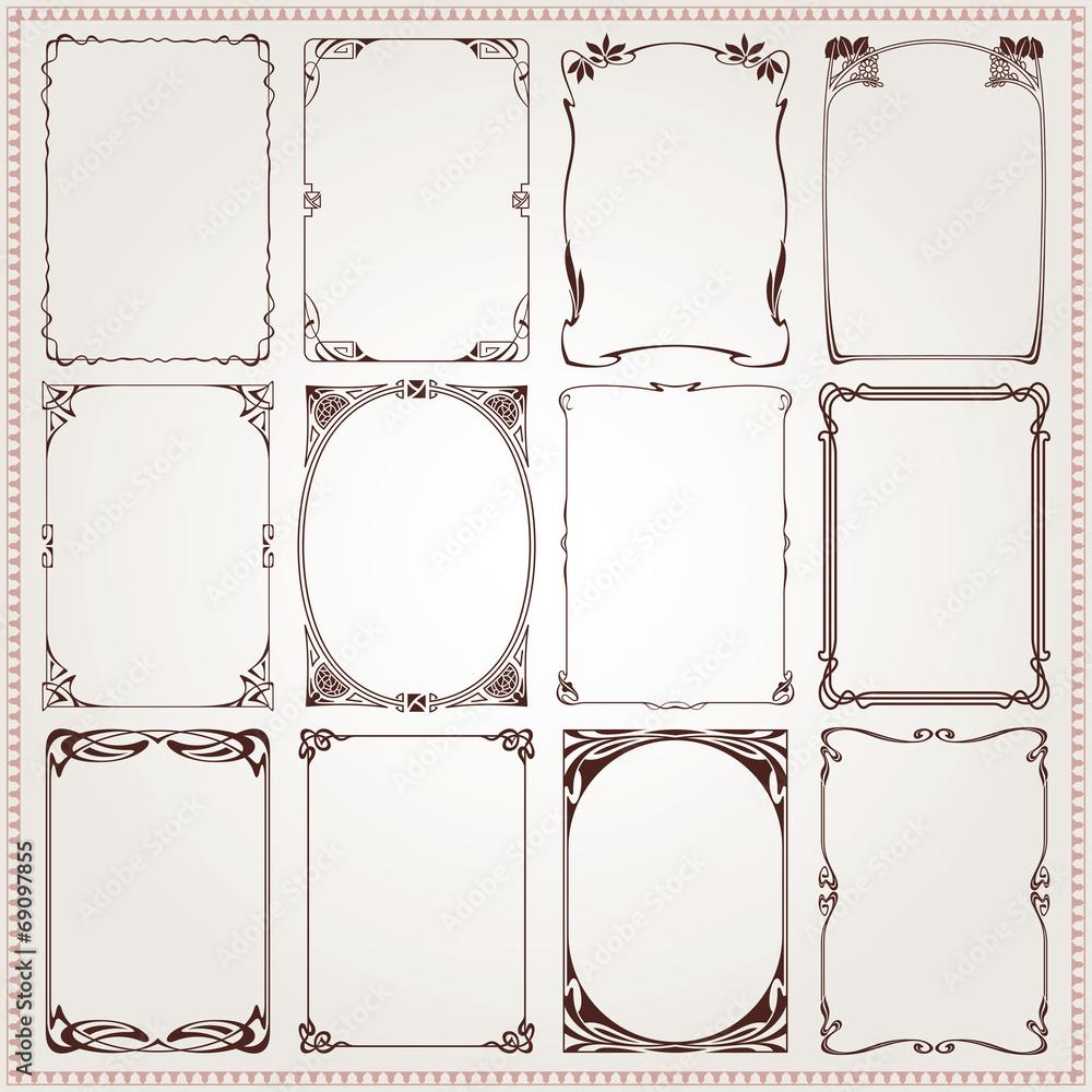 Obraz Decorative borders and frames Art Nouveau style vector fototapeta, plakat