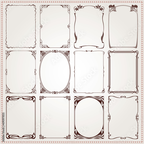 Decorative borders and frames Art Nouveau style vector Wall mural
