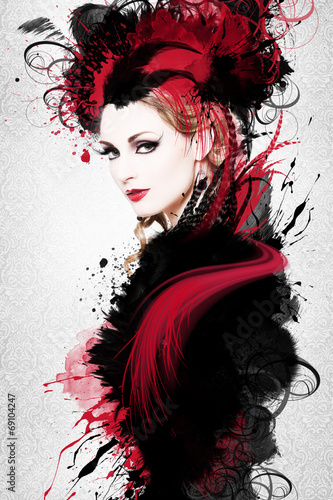 Obraz w ramie Beautiful woman, Artwork with ink in grunge style