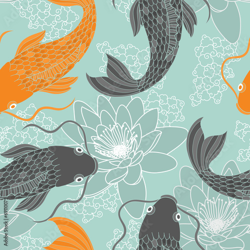 Photographie  Chinese carps seamless pattern