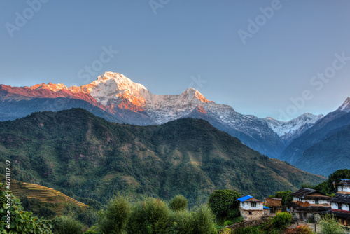 In de dag Nepal Ghandruk village in Nepal, HDR photography