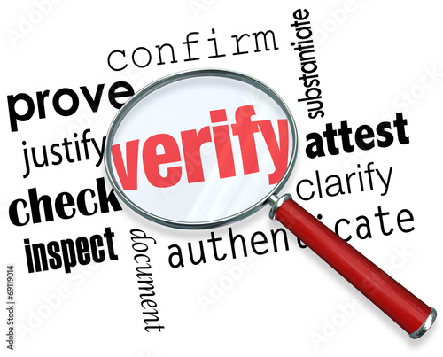 Verify Word Magnifying Glass Certify Prove Check Inspect Canvas Print