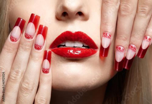 Fotografie, Obraz  Acrylic nails manicure