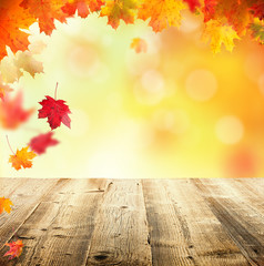 Naklejka na ściany i meble Autumn background with empty wooden planks