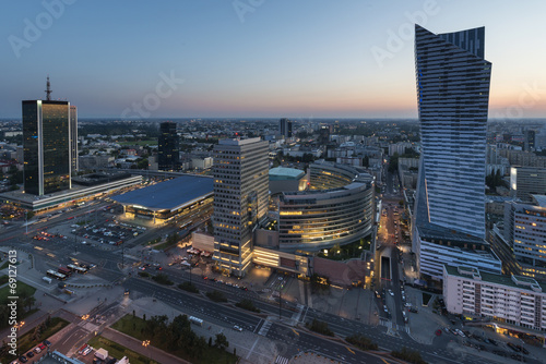 Panorama of Warsaw city center during sundown
