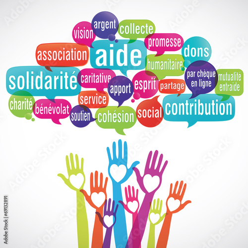 nuage de mots coeur mains : solidarité aide dons Wallpaper Mural