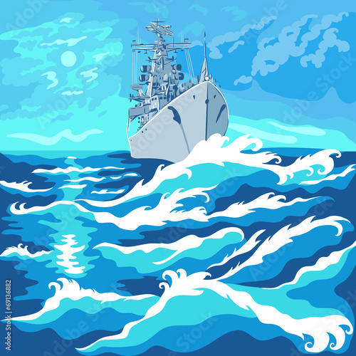 Canvas Print vector seascape with a warship