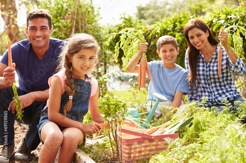 Family Working On Allotment Together Wallpaper Mural