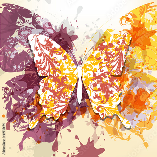 Foto op Aluminium Vlinders in Grunge Grunge art background with butterfly made from swirls and ink sp