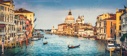 Poster Venise Grand Canal and Santa Maria della Salute at sunset, Venice