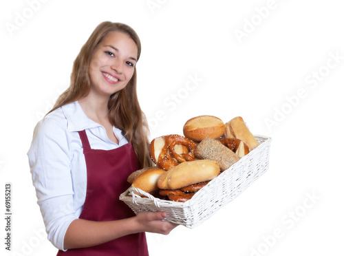 Fotografie, Obraz  Blonde Bäckereiverkäuferin mit Brotkorb