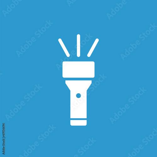 Obraz flashlight icon, white on the blue background . - fototapety do salonu