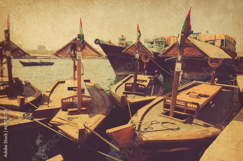 Fotobehang Midden Oosten Boats on the Bay Creek in Dubai
