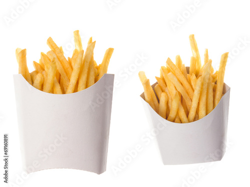 french fries in a paper wrapper on white background Fototapet