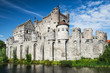 canvas print picture - Gravensteen Castle and Lieve River, Ghent