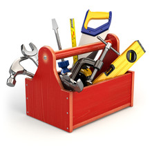 Toolbox With Tools On White Is...