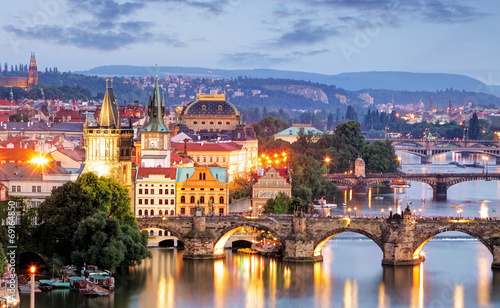 Foto op Plexiglas Praag Prague cityscape at night