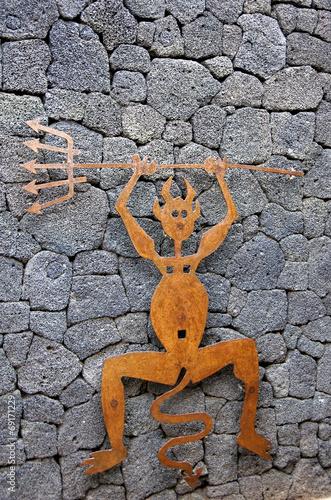 Photo  diable symbole lanzarote canaries
