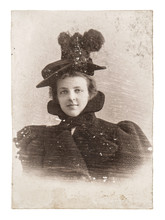 Vintage Portrait Of Young Lady Wearing Vintage Clothing. Antique