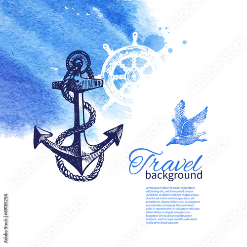 Fotografia  Travel vintage background. Sea nautical design.