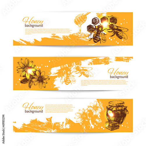 Valokuva  Set of honey banners with hand drawn sketch illustrations