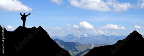Fotografie, Obraz  Bergsteiger in den Alpen