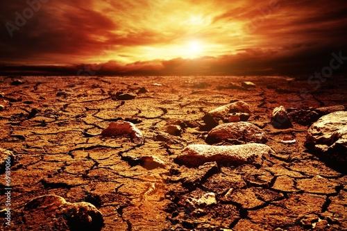 Staande foto Droogte Stormy sky over desert