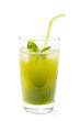 Glass of juice from fresh cucumbers isolated on white background
