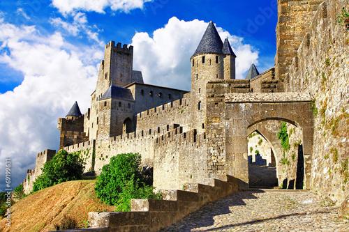 obraz PCV średniowieczne zamki z Carcassonne, Francja - większość największych forteress