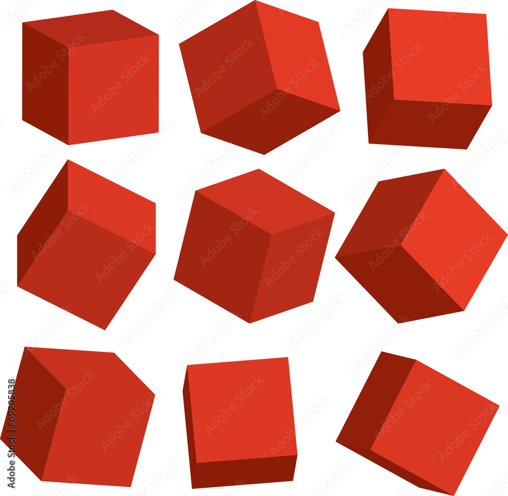 Fototapeta Illustration of Red 3D cubes in different positions