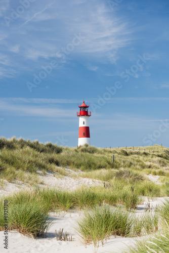 Keuken foto achterwand Noord Europa Lighthouse on dune. Focus on background with lighthouse.
