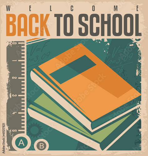 Back to school vintage vector label design  - Buy this stock