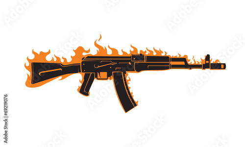AK-47 vector Wallpaper Mural