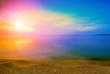 Fototapeta Tęcza - Magical rainbow sunrise over sea