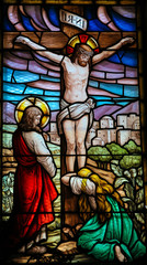 Naklejka Jesus on the cross - stained glass