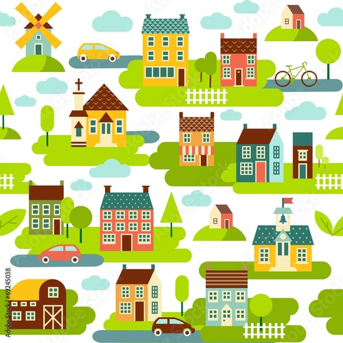 Deurstickers Op straat Seamless background with houses and city landscape