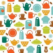 Seamless Pattern Of Kitchen Ut...