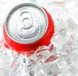 red aluminum can with water drop
