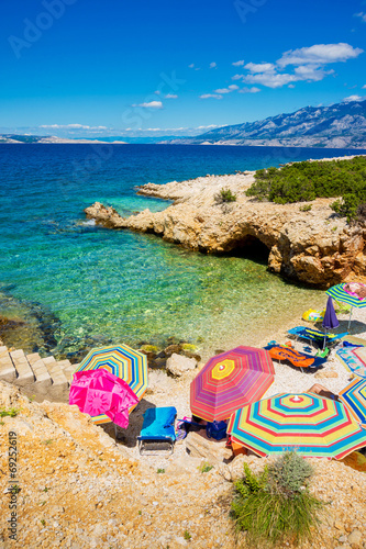 Fotografie, Obraz  Beach scene in Pag, Adriatic sea